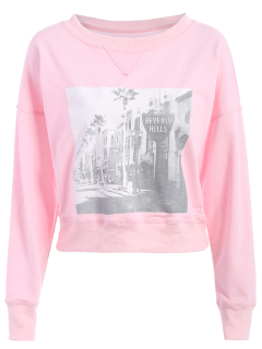 Oversized Graphic Front Sweatshirt - Pink L