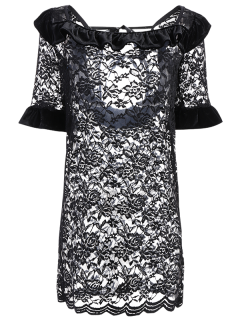 String Flounced Lace Dress - Black M