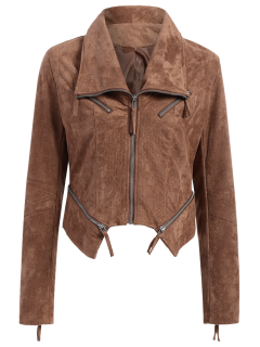 Faux Suede Asymmetric Bomber Jacket - Brown S
