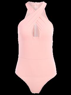 Sleeveless Cross Keyhole Bodysuit - Pink L