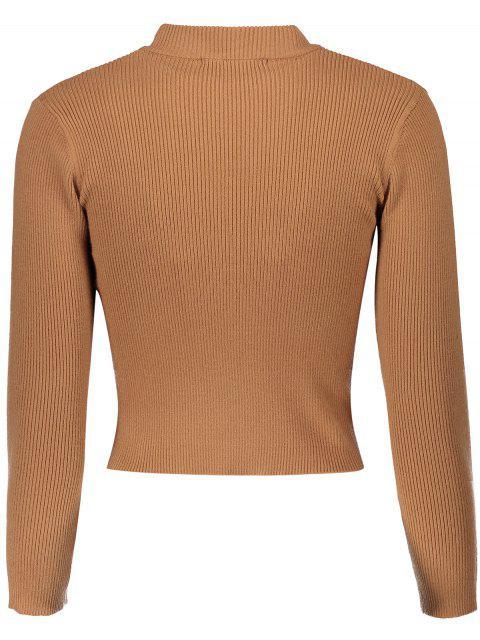 Kurzer Pullover mit Stehkragen - Khaki Eine Größe Mobile