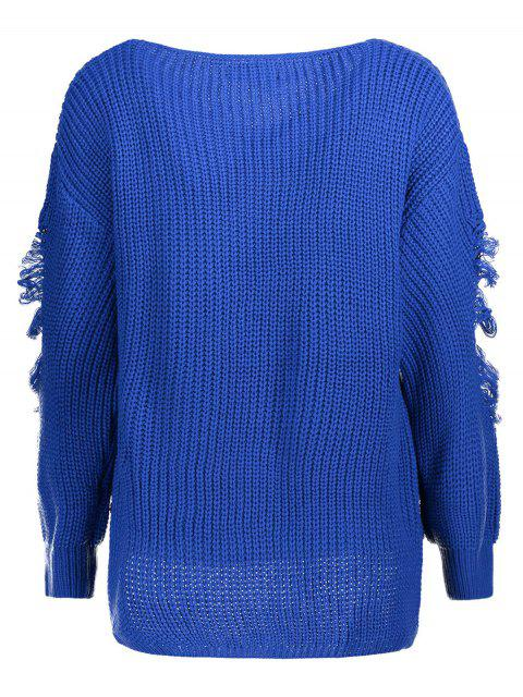 women's Loose Pullover Distressed  Sweater - BLUE L Mobile