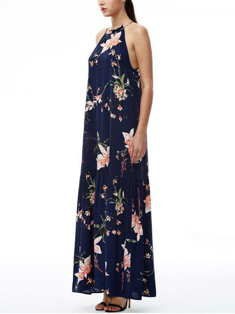 buy Maxi Floral Beach Dress - NAVY BLUE L Mobile