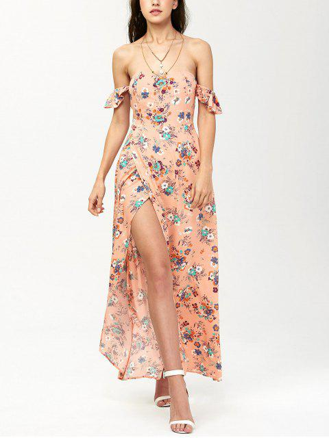 ladies Off The Shoulder Maxi Floral Slit Dress - ORANGEPINK L Mobile