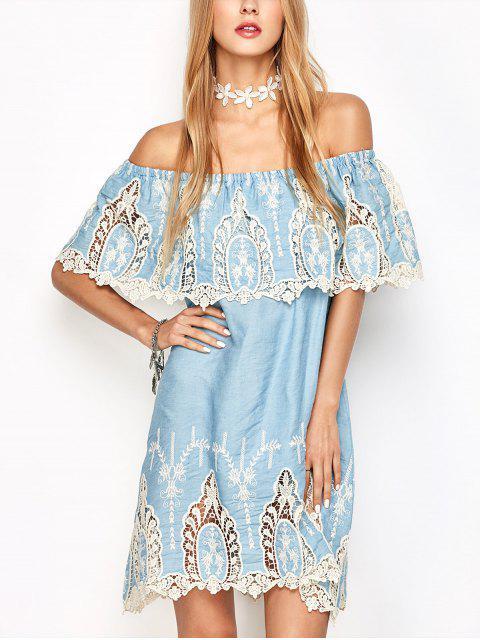 unique Crochet Off The Shoulder Overlay Dress - LIGHT BLUE L Mobile