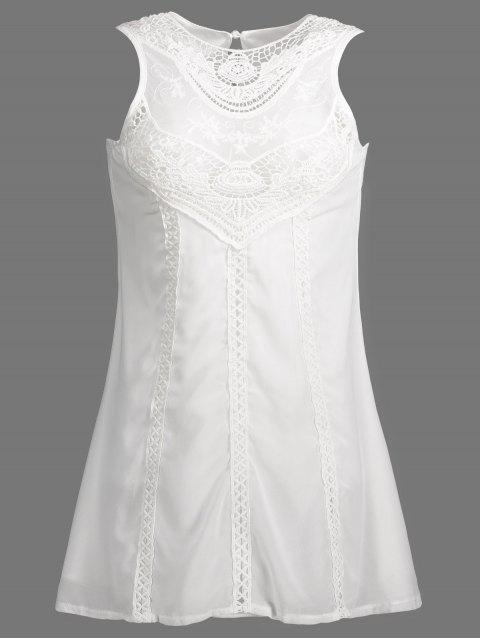 fashion Spliced Openwork White Chiffon Dress -   Mobile