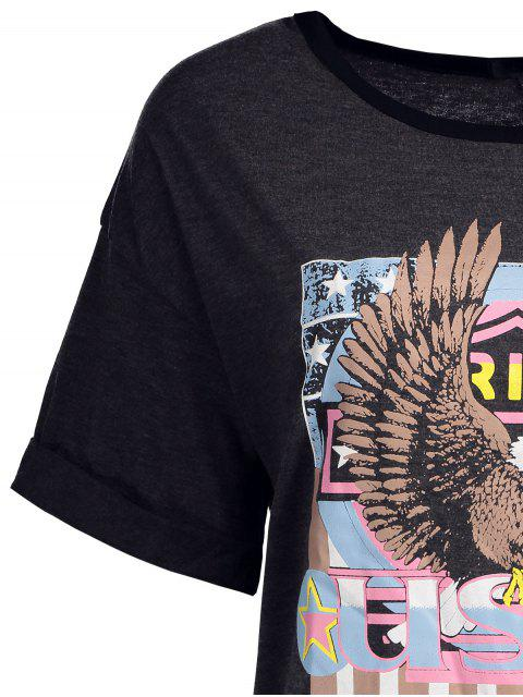 lady Eagle Letter Graphic Short Sleeve T-Shirt - GRAY L Mobile