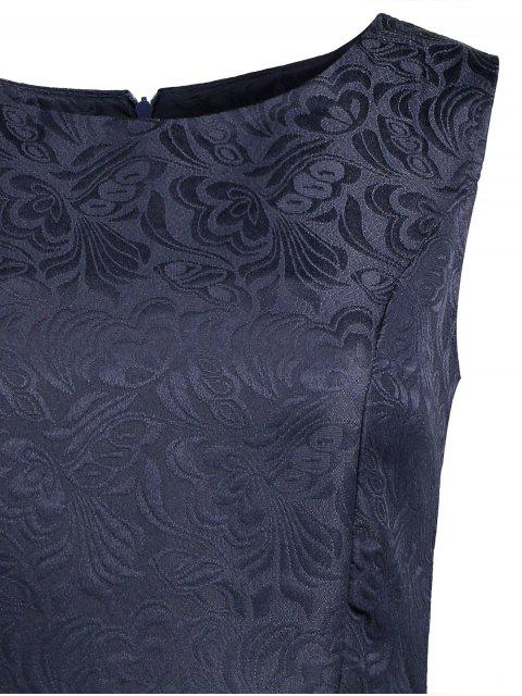 fancy Sleeveless Jacquard Mini Dress - PURPLISH BLUE L Mobile