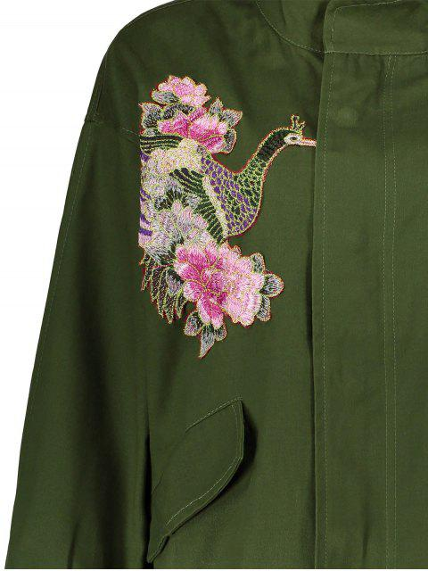 sale Floral Embroidered Utility Jacket - ARMY GREEN M Mobile