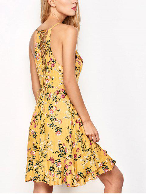 outfit Crossover Floral Print Cami Dress - YELLOW M Mobile
