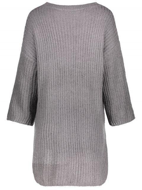 online Drop Shoulder Long Sleeve Sweater Dress - GRAY ONE SIZE Mobile