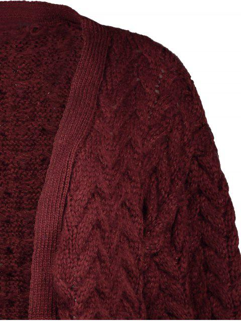 trendy Thickening Cable Knit Cardigan - WINE RED ONE SIZE Mobile