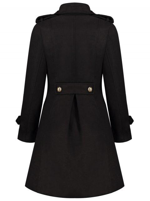 trendy Woolen Double-Breasted Coat - BLACK L Mobile