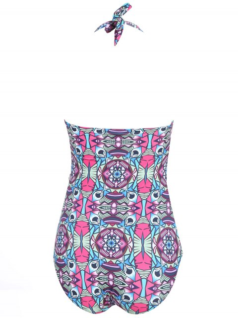 women's Cut Out Halter Patterned Swimwear - COLORMIX M Mobile