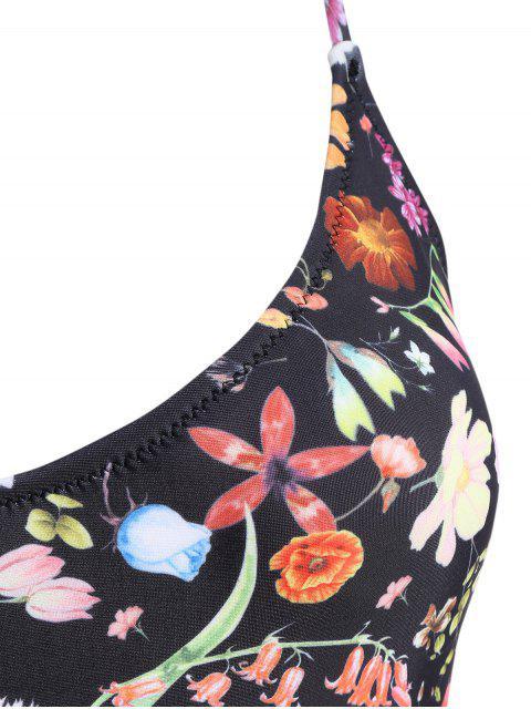 Maillot de bain à bretelle spaghetti imprimé de motif floral - Noir M Mobile