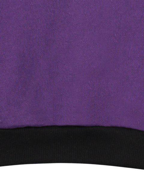 fancy Fleece Color Block Sweatshirt - PURPLE ONE SIZE Mobile