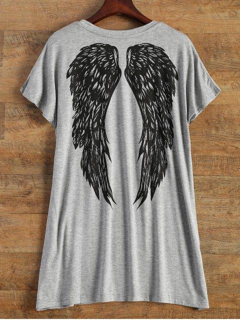 Schreiben Flügel Print Kurzarm T-Shirt - Grau Einheitsgröße(Geeign Mobile