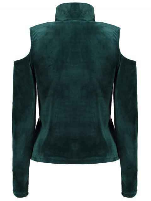 ハイネック冷遇ベロアTシャツ - 緑 S Mobile