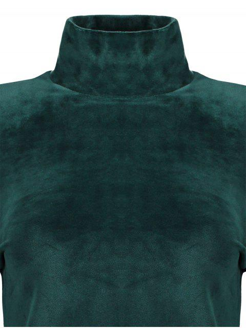 women High Neck Cold Shoulder Velour T-Shirt - GREEN L Mobile