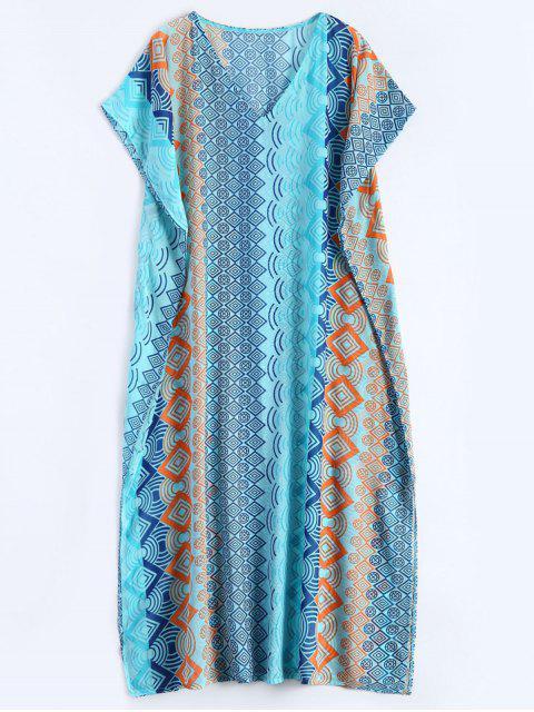 hot Geometric Print Chiffon Kaftan Cover Up - LAKE BLUE  Mobile