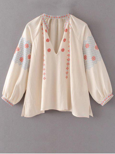 Oversize manches bouffantes Top brodé - Rose Abricot Clair M Mobile