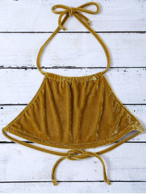 buy Halter Velvet Crop Top - GOLD BROWN XL Mobile