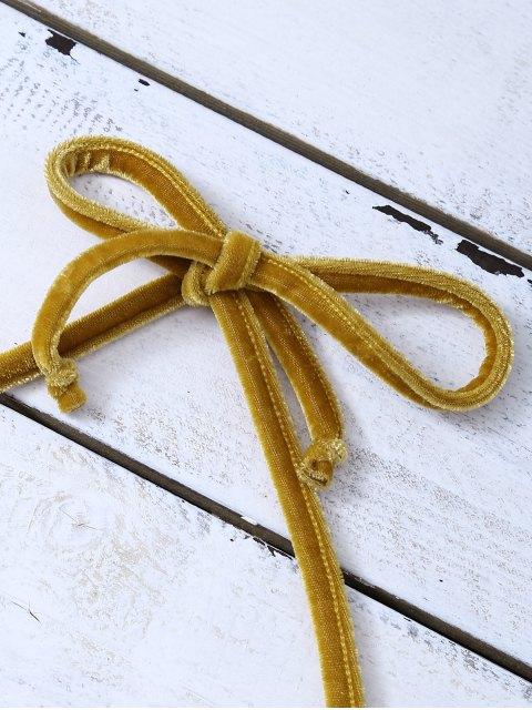 women's Halter Velvet Crop Top - GOLD BROWN S Mobile