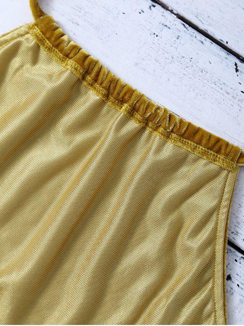 women Halter Velvet Crop Top - GOLD BROWN M Mobile