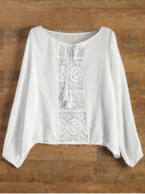 online Lace Panel Tied Tassel Sheer Top - WHITE S Mobile