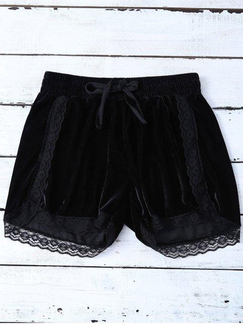 trendy Elastic Lace Trim Velvet Shorts - BLACK L Mobile