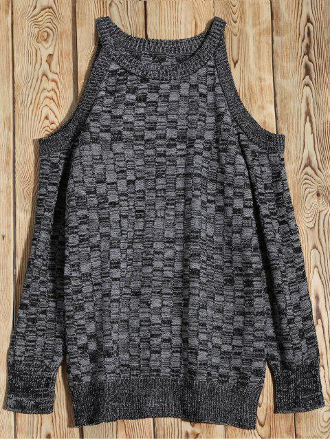 Marled Basket Weave Cold Shoulder Jumper - Gris S Mobile