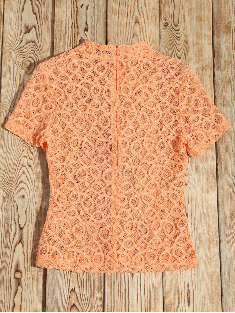 Sheer haut en dentelle T-shirt col - Orange Rose XL Mobile