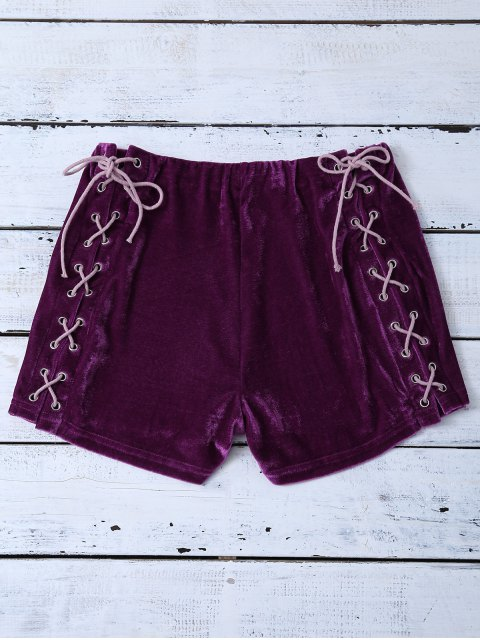 fancy Lace Up Side Velvet Shorts - PURPLISH RED XL Mobile