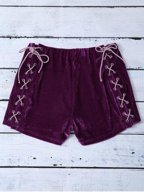 affordable Lace Up Side Velvet Shorts - PURPLISH RED S Mobile