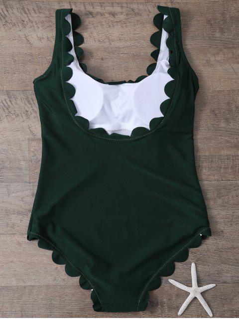 ladies Scalloped U Neck One-Piece Swimwear - DEEP GREEN L Mobile