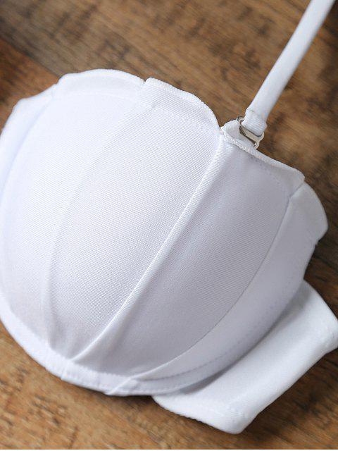 latest Side-Tie Bandeau Bikini Set - BLUE AND WHITE XL Mobile