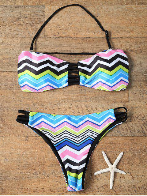 fancy Chevron Stripe Strapless Bikini Set - COLORMIX XL Mobile