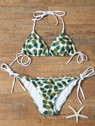 Pineapple Print Tie-Side Padded Bikini Set - Xl