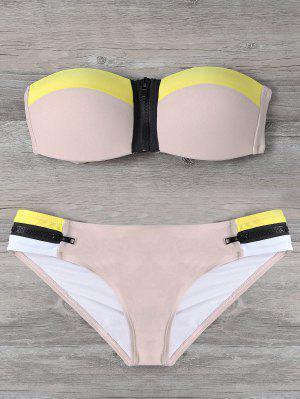 Zipper Strapless Bikini Set - Yellowish Pink M