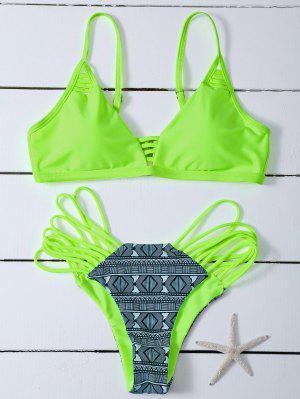 Réversible Imprimé Ensemble Bikini - Fluorescente Verte M