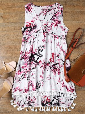 Low Cut Laciness High Low Dress - White L