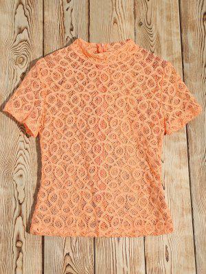 Sheer Alta Cordón Del Cuello De La Camiseta - Naranja Rosa Xl