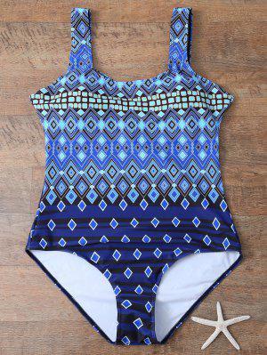Criss-Cross Impresión Tribal Más El Tamaño De Traje De Baño - Azul 3xl
