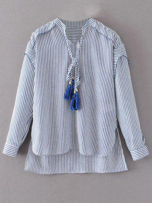 Tie Neck High Low Tassel Striped Blouse - Stripe L