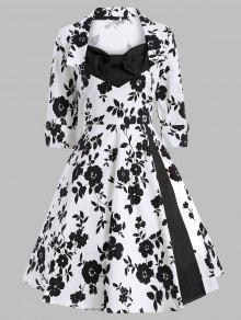 Robe Vintage Imprimée Bouffante à Manches 3/4 Embellie Nud Papillon - Blanc Et Noir S