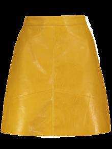 A Line PU Leather Mini Skirt YELLOW: Skirts XS | ZAFUL