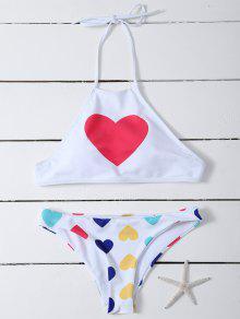 Motif Coeur Col Haut De Bikini - Blanc M