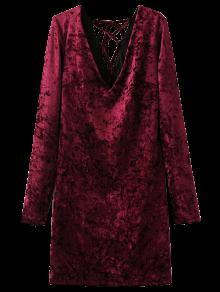 Lace Up Long Sleeve Velvet Dress - Wine Red L
