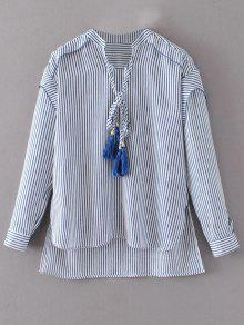 Tie Neck High Low Tassel Striped Blouse - Rayure L