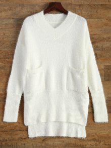 V Neck High Low Pockets Jumper - Blanc